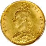 1887年1/2 Sovereign金币。维多利亚。伦敦铸币厂。 GREAT BRITAIN. 1/2 Sovereign, 1887. London Mint. Victoria. PCGS MS-