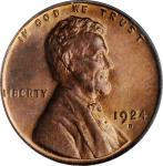 1924-D Lincoln Cent. MS-64 RD (PCGS). OGH.