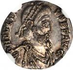 EUGENIUS, A.D. 392-394. AR Siliqua (1.71 gms), Trier Mint, ca. A.D. 392-394. NGC AU*, Strike: 5/5 Su
