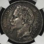 "FRANCE Napoleon III ナポレオン3世(1852~70) 5Francs 1869BB NGC-AU Details ""Cleaned"" 洗浄 -EF"
