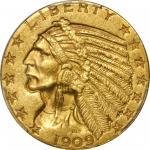 1909-O Indian Half Eagle. MS-61 (PCGS).