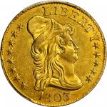 1803/2 Capped Bust Right Half Eagle. BD-2. Rarity-5. Imperfect T, 3 Free of Bust. MS-62 (PCGS).