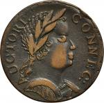 1785 Connecticut copper. Miller 4.1-F.4, W-2355. Rarity-1. Mailed Bust Right. African Head. EF-40 (P