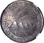 GUATEMALA. 8 Reales, 1841/37-NG MA. Nueva Guatemala Mint, Assayer