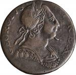 Undated (1771) Contemporary Counterfeit English Halfpenny. George III Type. Spike Chin Family. Die 1