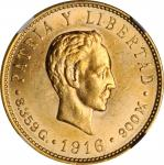 CUBA. 5 Pesos, 1916. NGC MS-62.