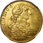 PERU. 8 Escudos, 1770-LM JM. Lima Mint. Charles III. NGC AU-53.