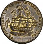 """1778-1779"" (ca. 1780) Rhode Island Ship Medal. Betts-562, W-1730. Without Wreath Below Ship. Brass."