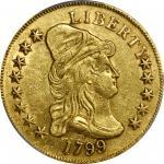 1799 Capped Bust Right Eagle. BD-7, Taraszka-19. Rarity-3. Small Obverse Stars. AU Details--Edge Rep