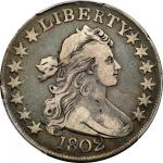 1802 Draped Bust Half Dollar. O-101, T-1, the only known dies. Rarity-3. VF-25 (PCGS). CAC.