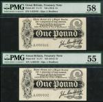 Treasury Series, J. Bradbury, first issue £1 (2), ND (7 August 1914), serial numbers A.059101/A.0591