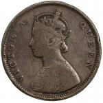 Lot 2628 BRITISH INDIA: Victoria, Queen, 1837-1876, AE frac12 anna, ND, KM-468, obverse mirror brock