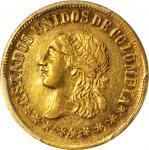 COLOMBIA. 1863 2 Pesos. Medellín mint. Restrepo 325.1. AU-58 (PCGS).