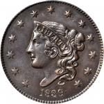 1839/6 Modified Matron Head Cent. N-1. Rarity-3. Plain Cords. AU-53 (PCGS).