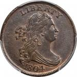 1804 Draped Bust Half Cent. C-10. Rarity-1. Crosslet 4, Stems to Wreath. MS-65+ BN (PCGS). CAC.