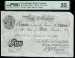 Bank of England, John Nairne (1902-1918), 5, London, 10 November 1914, serial number 56/C 13895, bla