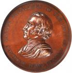 1849 Zachary Taylor Indian Peace Medal. Second Size. Second Reverse. Bronzed Copper. 62.5 mm. Julian