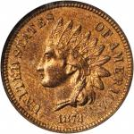 1873 Indian Cent. Close 3. MS-65 RB (NGC).