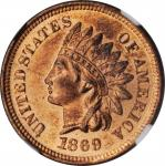 1869/69 Indian Cent. Snow-3d, FS-301. Repunched Date. MS-64 RB (NGC).