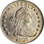 1807 Draped Bust Half Dollar. O-102, T-8. Rarity-2. AU-55 (PCGS). OGH.