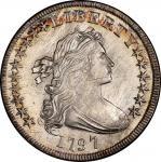 1797 Draped Bust Silver Dollar. Bowers Borckardt-71, Bolender-3. Rarity-2. Stars 10x6. Mint State-64