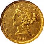 1861-C Liberty Head Half Eagle. Winter-1, the only known dies. Die State II. AU-53 (NGC).