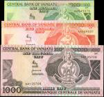 VANUATU. Central Bank of Vanuatu. 100 to 1000 Vatu, ND (1982-1989). P-1 to 3. Uncirculated.