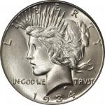 1934-S Peace Silver Dollar. MS-66 (PCGS).