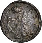 Undated (ca. 1652-1674) St. Patrick Farthing. Martin 1c.7-Ca.3, Breen-208, W-11500. Rarity-6+. Coppe