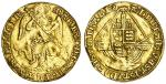 Mary (1553-54), Angel, 4.68g, mm. pomegranate, maria mm d?g?ang?fra?z hib?regin? annulet stops, St.
