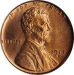 1917-D Lincoln Cent. MS-65 RD (PCGS).