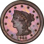 1842 Braided Hair Half Cent. Second Restrike. Small Berries Reverse. Breen 1-C. Rarity-7-. Reverse o