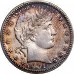 1901 Barber Quarter. Proof-67 (PCGS).