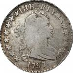1797 Draped Bust Half Dollar. Small Eagle. O-101, T-1. Rarity-4+. 15 Stars. Fine-12 (PCGS). OGH.