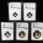 1999年熊猫纪念金币一组5枚 NGC MS