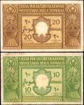 ITALIAN SOMALILAND. Cassa per la Circolazione Monetaria della Somalia. 10 & 20 Somali, 1950. P-13 &
