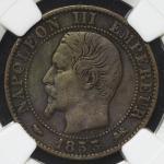 FRANCE Napoleon III ナポレオン3世(1852~70) 5Centimes 1853D NGC-VF35 BN(NGC额面表记ミス) VF