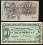 De Javasche Bank, a pair of 5 and 10 Gulden, 7.7.1939 and 18.3.1931, serial number WZ02725 and XA069
