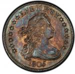 1805 Draped Bust Quarter. Browning-3. Rarity-2. Mint State-64 (PCGS). PCGS Population: 6, 1 fin