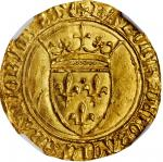 FRANCE. Ecu dOr a la Couronne, ND (1380-1422). Saint-Lo Mint. Charles VI. NGC MS-64.