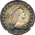 1803 Draped Bust Half Dollar. O-101. Rarity-3. Large 3. MS-61 (NGC).