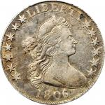 1806/5 Draped Bust Half Dollar. O-104a, T-1. Rarity-5. Large Stars. VF Details--Cleaned (PCGS).
