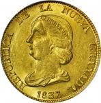 COLOMBIA. 1837-RS 16 Pesos. Bogotá mint. Restrepo M211.1. MS-62+ (PCGS).