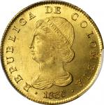 COLOMBIA. 8 Escudos, 1830-BOGOTA RS. Bogota Mint. PCGS MS-63 Gold Shield.