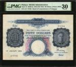 1942年马来西亚50美元 PMG VF 30 MALAYA  Board 50 Dollars,
