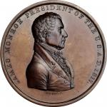 1817 James Monroe Indian Peace Medal. Copper, Bronzed. Second Size. First Reverse. Julian IP-9, Pruc