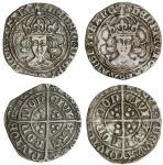 Henry VII (1485-1509), Groats (2), both type II, 3.011g, m.m. cinquefoil, henric etc, trefoil stops,