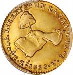 MEXICO. 1/2 Escudo, 1860-Zs VL. Zacatecas Mint. PCGS AU-58 Gold Shield.