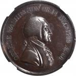 1800 Washington Hero of Freedom Medal. Struck over a 1797 Great Britain Twopence. Bronze. 38 mm. By