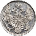 1828-CNB年俄罗斯铂金3卢布。圣彼得堡造币厂,尼古拉斯一世。RUSSIA. Platinum 3 Rubles, 1828-CNB. St. Petersburg Mint. Nicholas